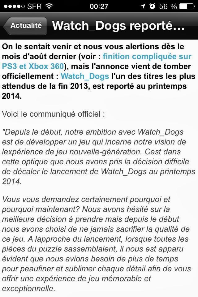 watch dogs reporté