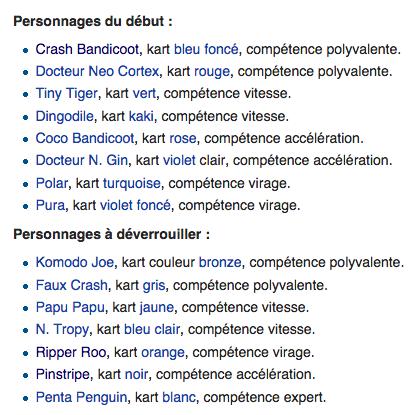 liste persos jouables